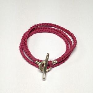 Hand dyed Crocheted Silk wrap bracelet